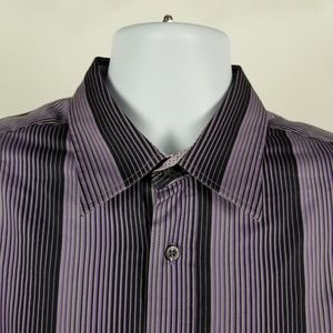 Bugatchi Uomo Shaped Fit Purple Black Striped XL